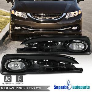 For 2013-2015 Honda Civic 4Dr Sedan Bumper Fog Lights+Switch+Bulbs+Wiring