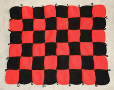 HAND KNITTED BLANKET - ESSENDON BOMBERS CHECKERBOARD PATTERN - PERFECT FOR FOOTY