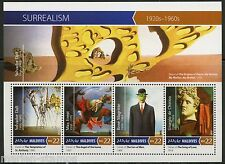 MALDIVES 2015  SURREALISM  DALI  ERNST MAGRITTE CHIRCO SHEET FIRST DAY COVER