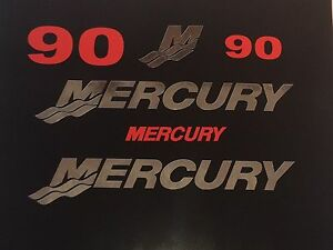 mercury outboard decal kit 90 hp CHROME and RED Marine Vinyl this set is 90 hp