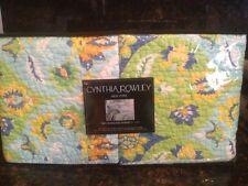 NEW CYNTHIA ROWLEY 2 STANDARD PILLOW SHAMS ~ AQUA LIME  YELLOW FLORAL MEDALLION