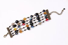STUNNING LARGE BEADED MULTICOLOR/ AB STONE BRONZE LAYERED BRACELET(ZX13)