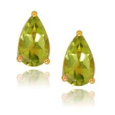 2 Carat Pear Shaped Green Peridot Stud Earrings 14k Yellow Gold over 925 SS