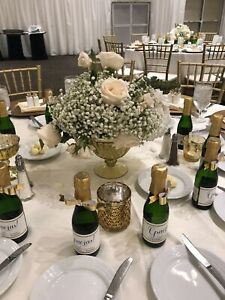 Wedding Centerpieces, BEAUTIFUL 11 Gold vases/FREE OASIS BOX