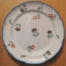 assiette faience ancienne oeillets fleurs