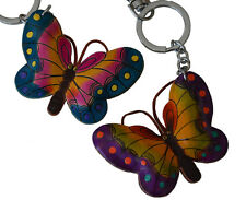 Leather Key Chain/bag Charm, a Pair of Colorful Butterfly Shape (2 Pieces), Cute