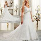 New V Neck Beaded Wedding Dress Bridal Gown Custom Plus Size 18-20-22-24-26-28++