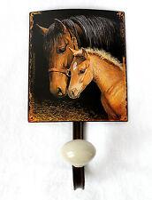 Gancho de la pared Caballos metal con perilla porcelana Shabby Chic Casa Campo