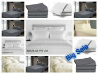 Fitted Bed Sets Flat Sheets 1900 Count 16 Deep Pocket Wrinkel Free 100% Cotton
