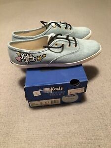 keds womens shoes sneakers lace up denim blue size 8.5 new with box