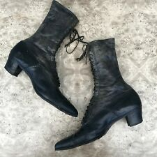 Antique Victorian Women's Black Leather Lace Up Boots Witchy Display Vintage