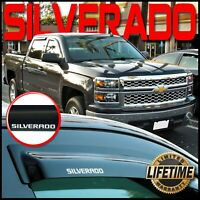 Silverado 2014-2018 Crew Cab Side Window Visors with Logo - Sun Rain Deflectors