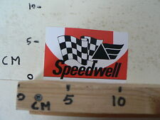 STICKER,DECAL  SPEEDWELL WITH FINISH FLAG RARE VINTAGE STICKER SMALL  AUTO CAR ?