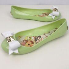 TED BAKER Joleey Green Ballet Jelly Flats Size UK 6 Women's Bow Design Shoes