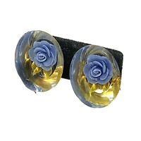 VINTAGE Reverse Carved LUCITE FLOWER EARRINGS Blue Oval SCREW BACK RETRO FUN!