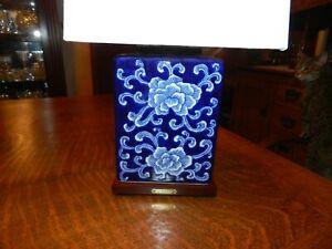 BRAND NEW Ralph Lauren Mandarin Cobalt Blue & White Table/Desk Lamp w/Brass Name