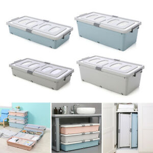 Wheeled Plastic Underbed Storage Box Lid Bedding Drawer Container Toys Clothes