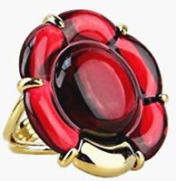 Baccarat B Flower Large Ring Red Mirror Crystal Vermeil Gold Size 6.5 (53) New