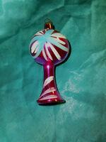 alte Christbaumkugel Glas Ballon Lampe pink weiß blau Lauscha Baumschmuck