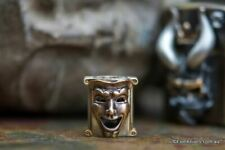 Techno Silver Theatrical Mask Handmade Brass & Bronze Lanyard Bead, Russia
