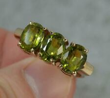 Impressive 9 Carat Gold and 3.5ct Peridot Trilogy Ring f0444