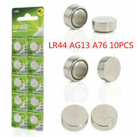 Lots 10pcs 1.5V GP LR44 AG13 A76 SR66 Button Cell Coin Battery Batteries NEW
