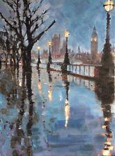 "New Original William oxer a FRSA ""PROMENADE DU SOIR"" LONDON TAMISE ville peinture"