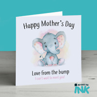 Mothers Day Card From the Bump - Cute Elephant Baby Girl Card - Mummy To Be