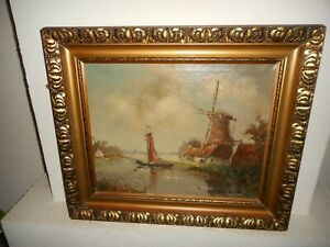 Antique oil painting,{ Windmill, cottages, sailboat, is signed, nice frame! }.
