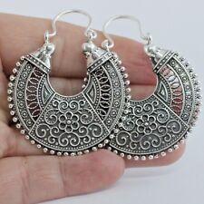 14.5g Indian Tribal Hoop Drop Earrings Oxidised Earring 925 Sterling Silver