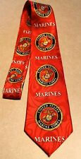 Neck Tie Red United States Marine Corps On A New Poly Tie! Harris 58'' L 3.8'' W