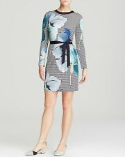 TORY BURCH-ANNETTE TIE WAIST MIXED PRINT SILK DRESS-LARGE-FLORAL-NEW W/TAGS-$450