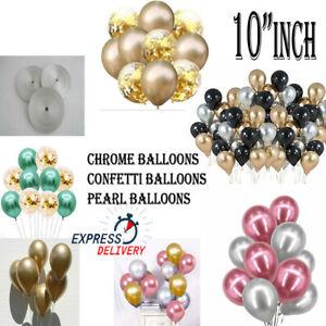 "10"" Metallic Pearl Chrome Latex Balloons pack of 50 Wedding Birthday Party UK"