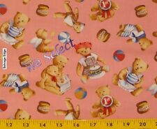 Teddy Bear Reading Story Tea Time Angle Toss Pink Cotton Fabric By The Yard
