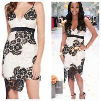 Bardot Eva US 4 Asymmetrical Lace Dress Black White Formal Cocktail XS NWT