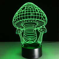 Mushroom 3D illusion LED Lamp Touch Switch Table Desk Night Light Kids Gift