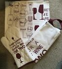 Wine Themed Apron, Glove And 3 Teatowels Kitchen Set