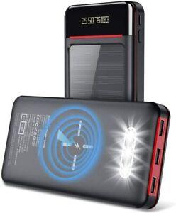 Aikove Wireless Power Bank 26800mAh Caricabatterie Solare Powerbank con Nero