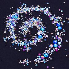 Blue AB Color Nail Rhinestone Beads Caviar 3D Nail Art Decoration Flat Bottom
