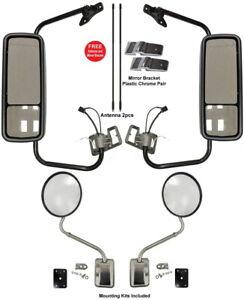 """New Door Mirror Heat w/Arm + 8"""" Hood Mirror FOR 2002-2013 Freightliner Columbia"""