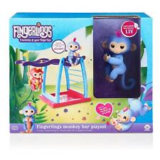 Fingerlings Pet Monkey Bar Playset LIV Blue with Pink Hair Baby WowWee