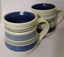 2 Pfaltzgraff Mexico Rio Coffee Mugs /Cups Blue Stripe Pottery introduced 1998