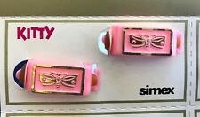 """Vintage Hair Barrettes - 1950's """"Simex""""  Kitty Pony Barrettes (Pink Butterfly)"""