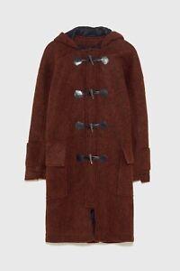 Zara Hooded Wool Duffle Coat Size M RRP £159