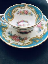 ROYAL TUSCAN NAPLES BLUE DEMITESSE CUP AND SAUCER SET Fine English BONE CHINA