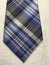 CROFT AND BARROW MENS TIE BLACK GRAY BLUE PLAID PATTERN 3.25 X 59 NWOT