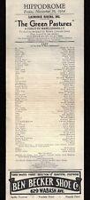 "Richard B. Harrison ""GREEN PASTURES"" Marc Connelly 1934 Terre Haute Broadside"