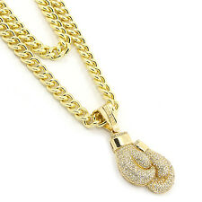 "Mens Gold Plated Boxing Gloves Pendant Hip Hop 30"" & 36"" Cuban Chain 3Pc Set"