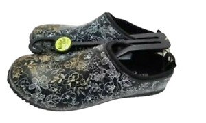 WESTERN CHIEF WOMANS SKETCH GARDEN CLOG BLACK RUBBER SLIP ON New with tags