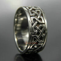 Men's Women's Vintage Celtic Infinite Knot 316L Stainless Steel Band Ring 12mm